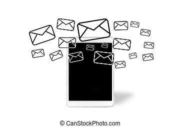 出かけること, 電子メール, タブレット, アイコン