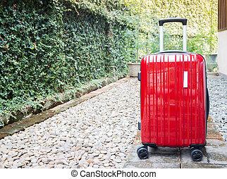 出て行く, 旅行, 赤, スーツケース