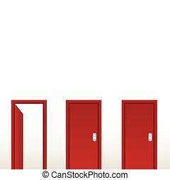 出口, door., 開いた, 解決, 赤