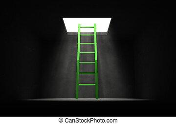 出口, the, 黑暗, -, 綠色, 梯子, 到, the, 光