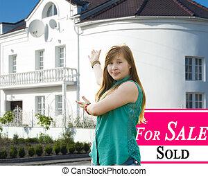 出售, 家, 以及, 美麗, 新, house.
