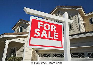 出售, 家, 待售簽名, &, 新的房子