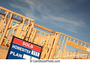 出售, 站點, 簽署, 建設, 簽, 家, 新
