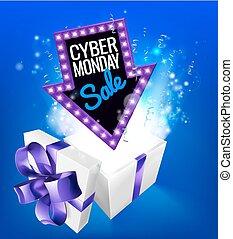 出售 簽署, 禮物, cyber, 星期一, 爆炸