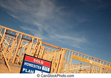 出售, 簽, 簽署, 在, 新的家, 建築工地