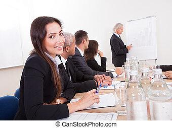 出席, 女, ミーティング, 若い, ビジネス