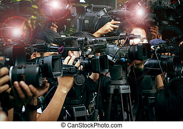 出版物, そして, 媒体, カメラ, カメラマン, 上に, 義務, 中に, 公衆, ニュース適用範囲, でき事,...