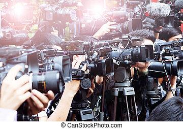 出版物, そして, 媒体, カメラ, カメラマン, 上に, 義務, 中に, 公衆, 新しい