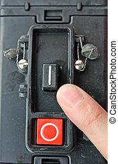 出版物, accession, スイッチ, 指, 装置, 電子