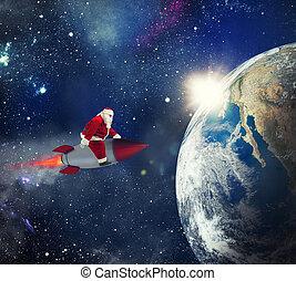 出産, スペース, claus, 速い, 贈り物, santa, クリスマス