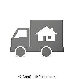 出産, 家, トラック, 隔離された, アイコン