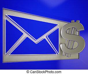 出産, 封筒, 提示, ドル, お金