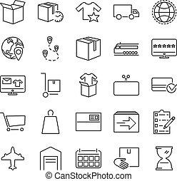 出産, 買い物, について, 商品, サービス, イラスト, 概説された, storehouse., コレクション, 順序, 包装, 購入, ベクトル, 満足感, オンラインで, pictorgrams, set., アイコン