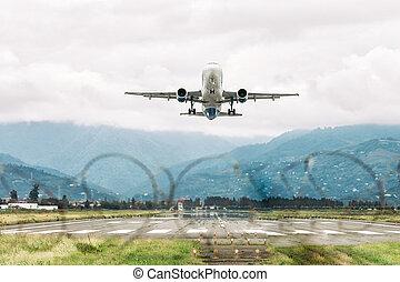 出発, 空港, 飛行機