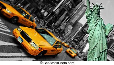 出租汽車, 廣場, 城市, 集中, 時代, 運動, 約克, 迷離, 新