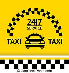 出租汽車, 符號, 以及, 汽車, 上, the, 背景