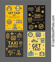出租汽車, 線, 服務, 飛行物, 旗幟, 海報, 卡片, set., 矢量