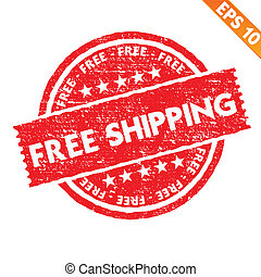出荷, ベクトル, -, 切手, 無料で, コレクション, eps10, ステッカー, イラスト