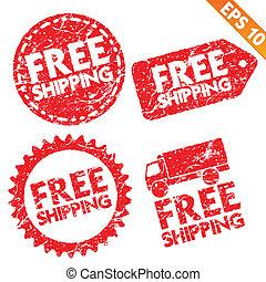 出荷, ベクトル, -, 切手, 無料で, stitcker, コレクション, eps10, イラスト, タグ