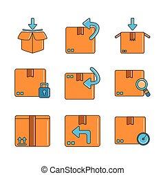 出荷, 線, アイコン, いっぱいになりなさい, ロジスティックである, 出産, セット, 分配, 貨物