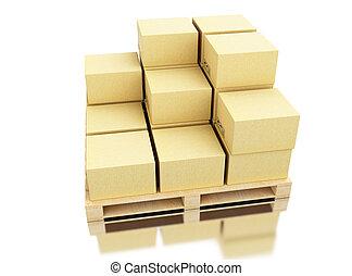 出荷, 3d, ボール紙, パレット, 箱