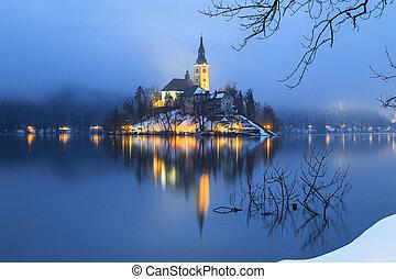 出血させる, 夕方, 湖, 霧が濃い