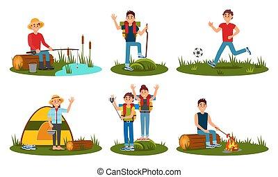 出費, ベクトル, キャンプ, forest., イラスト, 時間, 人々, 夏, 漫画, 海原, 平ら, 特徴