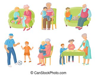 出費, 時間, 孫, 一緒に, 祖父母