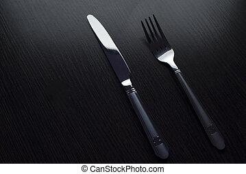 刀叉餐具, 上, a, 黑色, 桌子