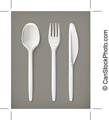刀叉餐具, 圖象, 塑料