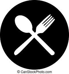 刀叉餐具, icons., 叉子, 刀, 以及, 勺, 黑色半面畫像, .