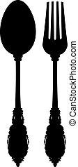 刀叉餐具, (silhouette)
