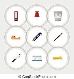 刃, 平ら, セット, elements., pushpin, 一件書類, 道具, バスケット, 含む, また, ベクトル, くずいれ, objects., 他, アイコン