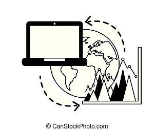 分享, 事務, 圖表, 膝上型, 統計, 世界, 數据