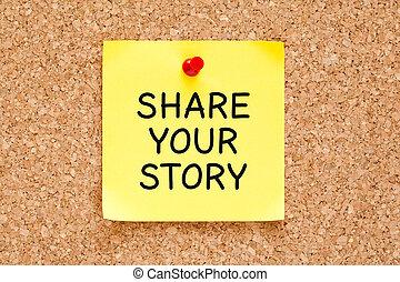 分享, 你, 故事, 郵寄它, 筆記