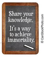 分享, 知識, 建議, 上, 黑板