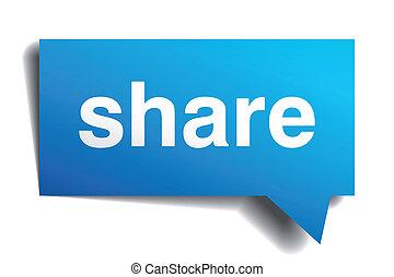 分享, 藍色, 3d, 現實, 紙, 演說泡, 被隔离, 在懷特上