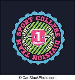 分割, 使用, スポーツ, label., 非常に, 紋章, アメリカ人, 大学, varsity, 容易である, チーム, apparel., チャンピオン, ロゴ