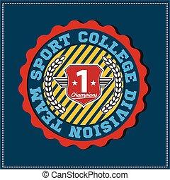 分割, 使用, label., 非常に, 紋章, アメリカ人, 大学, varsity, 容易である, チーム, 服装, スポーツ, チャンピオン, ロゴ