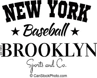分割, 大学, チーム, brooklyn, 新しい, ラベル, tシャツ, 活版印刷, 野球, varsity, グラフィックス, 服装, 大学, スポーツ, ヨーク
