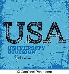 分割, 大学, ラベル, 大学, グラフィックス, 服装, スポーツ
