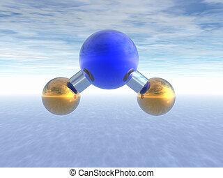 分子, の, 水