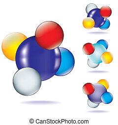 分子, セット, アイコン