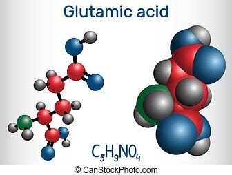 分子, ベクトル, 酸, e), molecule., glu, (l-, アミノ, aliphatic, 酸, ...