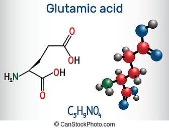 分子, 酸, 方式, e), molecule., glu, 構造, モデル, (l-, アミノ, aliphatic...