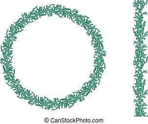 分支, 垂直, 圖案, 花冠, 被隔离, 輪, white., thuja, brush., 聖誕節, 無窮