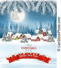 分支, 樹, 歡樂, village., 冬天, 背景, 聖誕節, 矢量