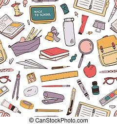 分散させる, 教育, スタイル, 生地 パターン, seamless, バックグラウンド。, 文房具の供給, 白, カラフルである, 包むこと, イラスト, 手, 引かれる, print., 壁紙, 学校, ペーパー, 現実的, ベクトル, ∥あるいは∥