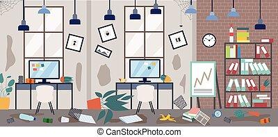 分散させる, 無秩序, オフィス, 汚い, もの, ベクトル, 平ら, illustration.