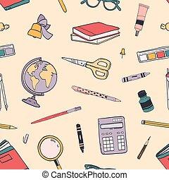 分散させる, 背中, 教育, スタイル, パターン, seamless, 創造的, 織物, バックグラウンド。, 供給, カラフルである, 背景, 包むこと, イラスト, 手, 引かれる, 印刷, 学校, ライト, paper., 現実的, ベクトル